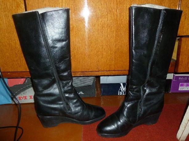 Сапоги кожаные, натуральные, утеплённые (зимние), размер 38