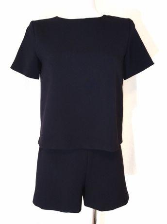 Kombinezon czarny Zara bluzka spodenki krótki rękaw 36 S 38 M