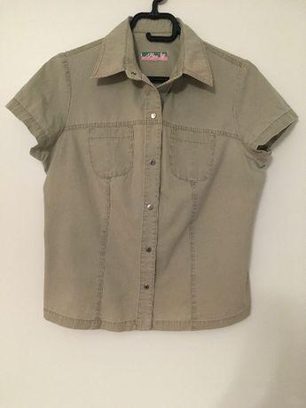 Bluzka z krótkim rękawem L kolor khaki, bawełna