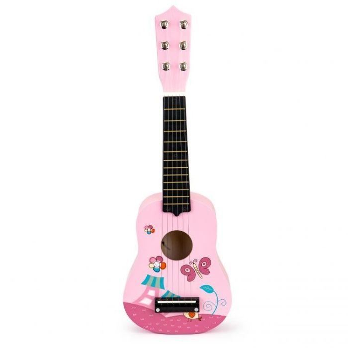 Gitara dla dzieci drewniana metalowe struny kostka- różowa Wrocław - image 1