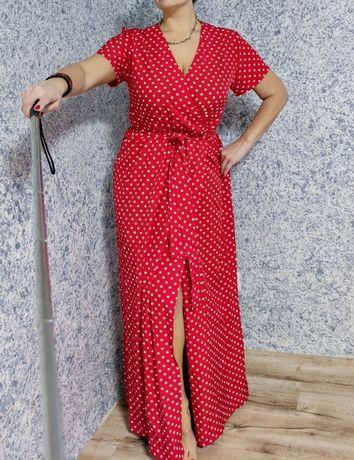 Шикарное платье в пол горошек 50 размер