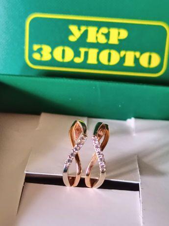 Золотые серьги 585° /2.23 гр. (бриллианты) Укр Золото