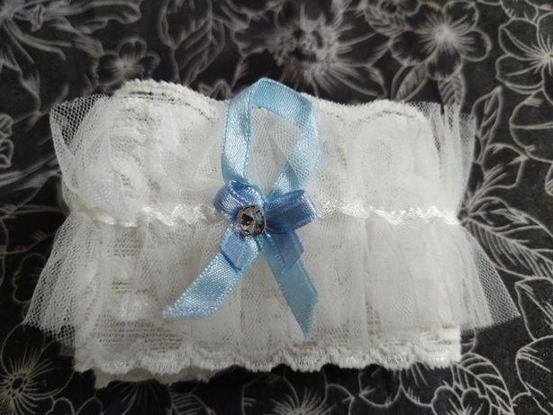 Podwiązka ślubna ślub kolor śmietankowy ivory niebieski