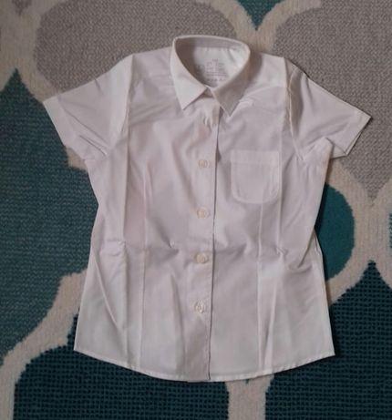 Koszula biała z krótkim rękawkiem 110/116