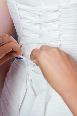 Suknia ślubna 34/36 śmietankowa zwiewna