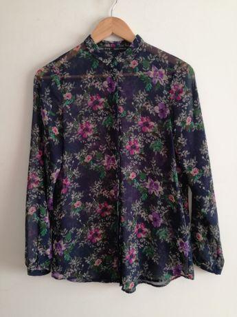 Camisa azul com estampado floral Tam.S