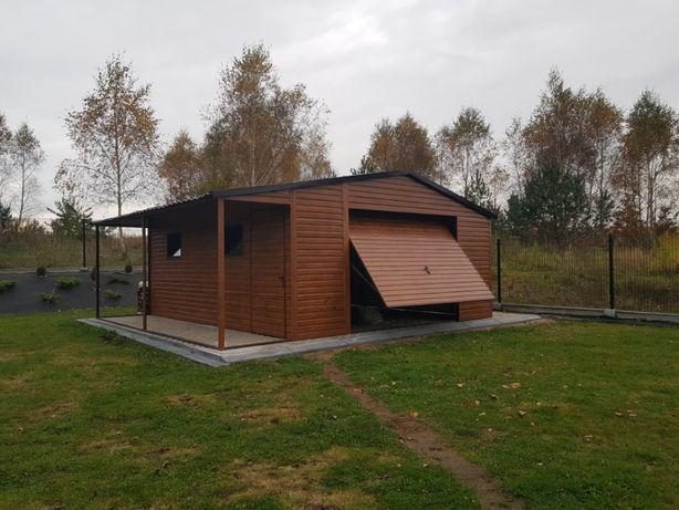 Garaż 5 x 6m z wiatką drewnopodobny blaszak PREMIUM