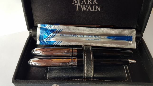 NOWY Zestaw Mark Twain: pióro kulkowe i długopis + wkłady na zapas
