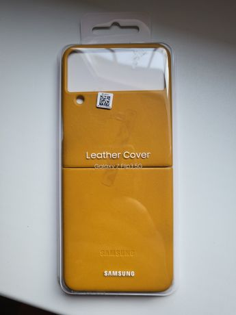 Samsung ZFlip 3 oryginalny Leather cover musztarda!