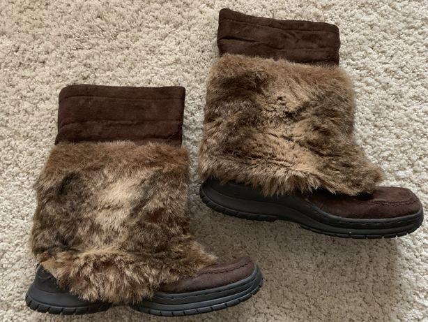 Skórzane botki 39 SKÓRA buty na zimę kozaki brązowe z futrem