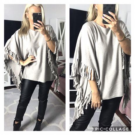 Sweter narzutka Frędzle angorka oversize   Szer pachy 80 x 2 Dl