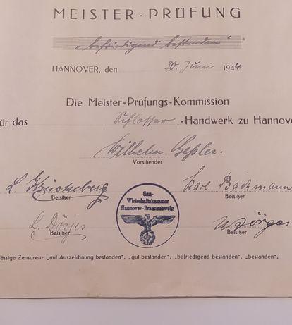 Niemieckie świadectwo i dyplom mistrzowski z 1944r