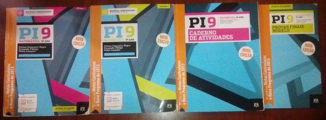 PI 9- matemática 9 ano- manual 1 e 2+ caderno atividades+provas finais
