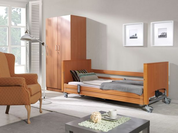Łóżko rehabilitacyjne, medyczne Elbur 337 z pilotem dla osób niskich