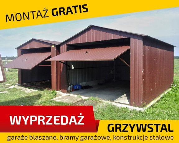 Garaż blaszany 3.7x5m - BRĄZOWY - garaże blaszane , wiaty , hale ,