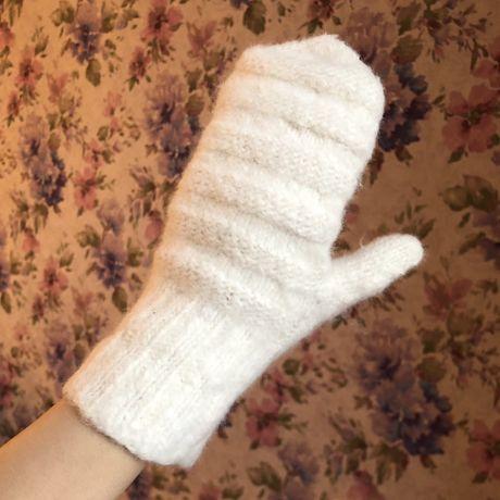 Варежки женские из шерсти кролика перчатки
