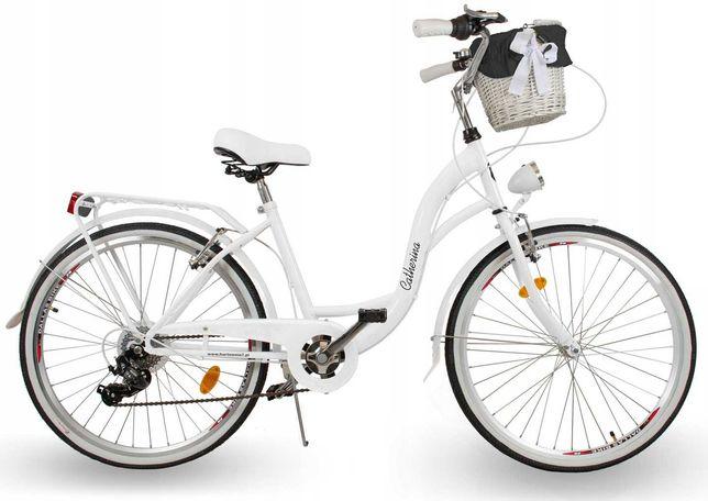 Damski rower miejski ECO DAMKA 28 Catherina biały Koszyk 7BIEGÓW