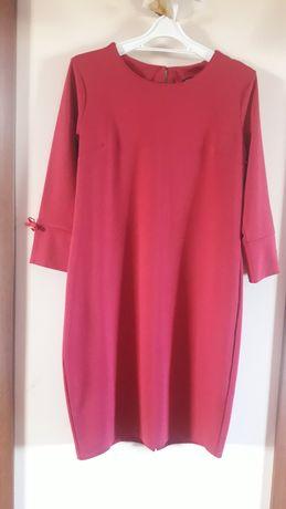 Greenpoint olowkowa sukienka klasyczna bawelniana malinowa roz. 40