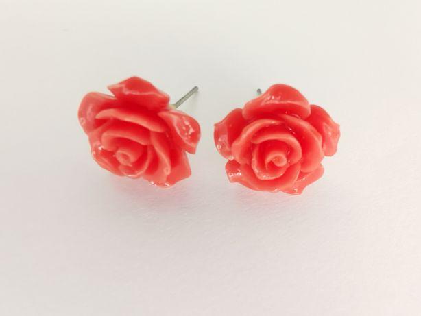 Kolczyki róże pomarańczowe śliczne dziewczęce modne