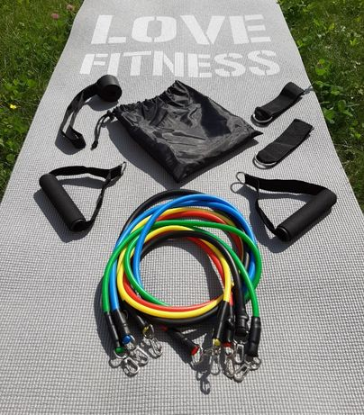 Эспандер трубчатый для фитнеса 5 штук + Мешочек спорт комплект