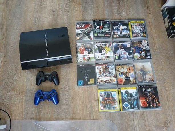 Konsola PlayStation 3 + 15 gier + 2 pady   PS3