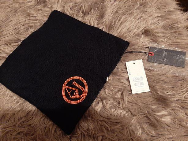 Czarny nowy szalik z metkami komin Armani Jeans