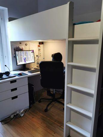 Cama alta + secretaria + armario