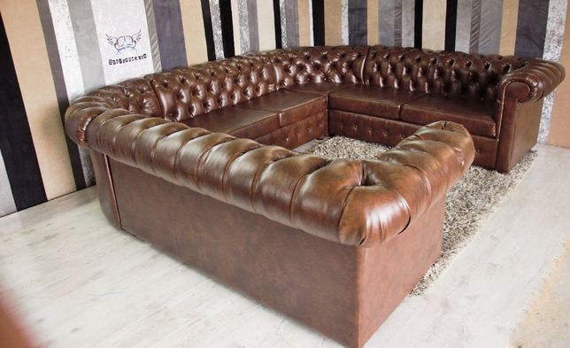 Klasyczna narożna sofa Chesterfield - U-shape z f.spania -Nowa!