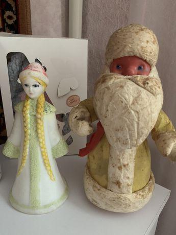 Дед мороз и снегурка,антиквариат дед мороз , игрушки на новый год