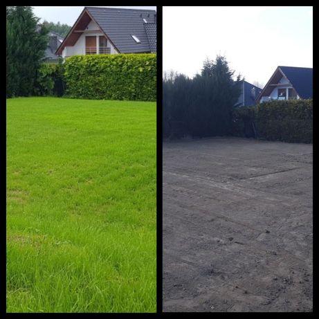 Usługi glebogryzarką separacyjną , wyrównanie terenu pod trawnik .
