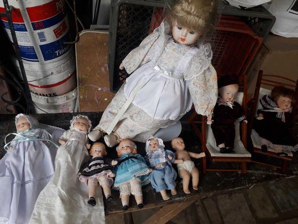 Lote 9 bonecos Porcelana