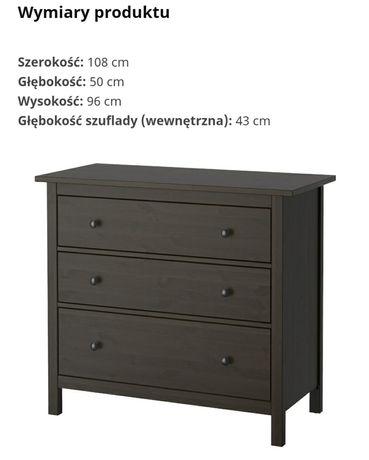 Komoda IKEA HEMNES 3 szuflady 108x96 kolor czarnybrąz