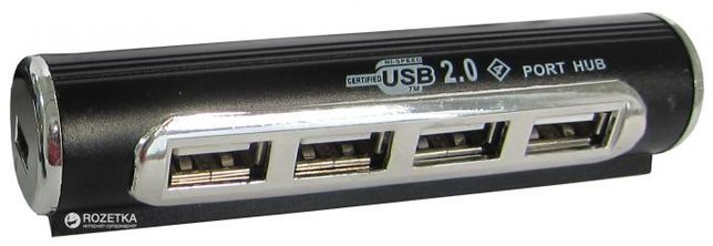USB-хаб Lapara USB 2.0 4 порта с БП (LA-USB22-ALU black)