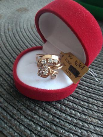 Pierścionek złoty 585 cyrkonie kwiat walentynki 16 święta ślub prezent