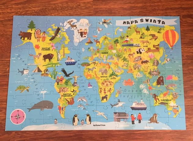 Edukacyjne puzzle mapa świata 5 - 7 lat 100 elementów