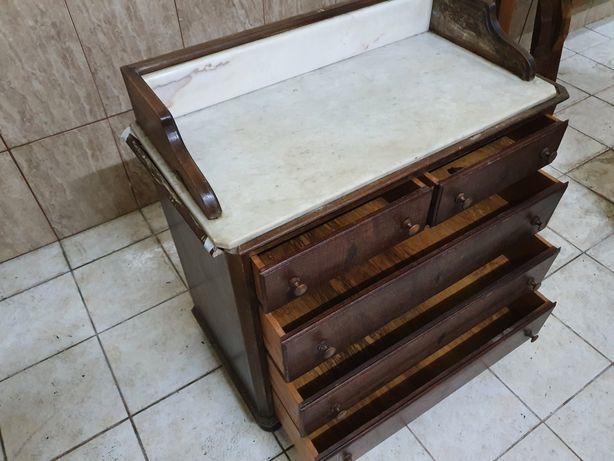 Camiseiro, cómoda antiga em madeira e mármore