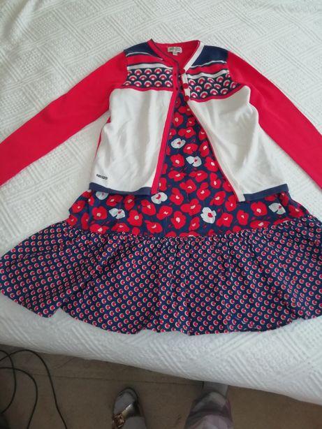 Conj KENZO de menina vestido e casaco em tons de azul e vermelho