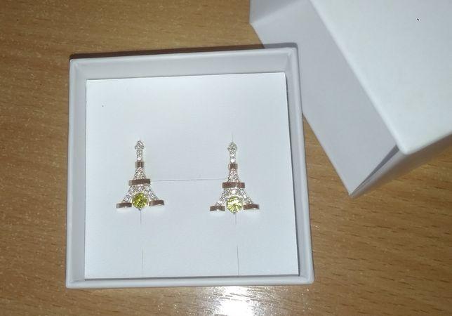 Серебряные серьги Эйфелева башня