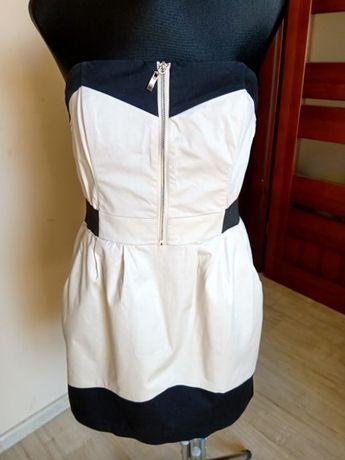 Beżowa elegancka sukienka bez ramiączek H&M 42