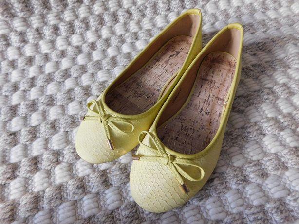 baleriny buty damskie żółte NOWE ROZ. 6/39