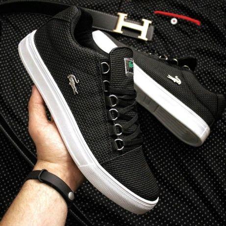 Кожаные кеды Лакост. Мужские кроссовки Lacoste черные, белые, синие