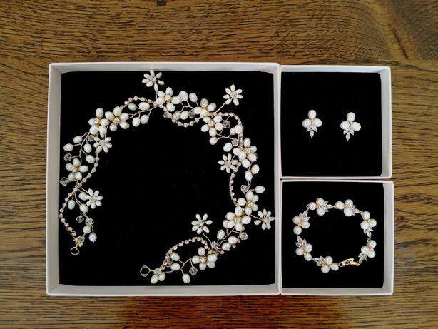 bizuteria ślubna novia blanca złoto naturalne perły komplet