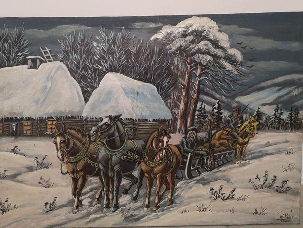 Powrót z polowania zimą, obraz na płótnie