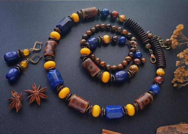 Ожерелье и браслет из натуральных камней + серьги