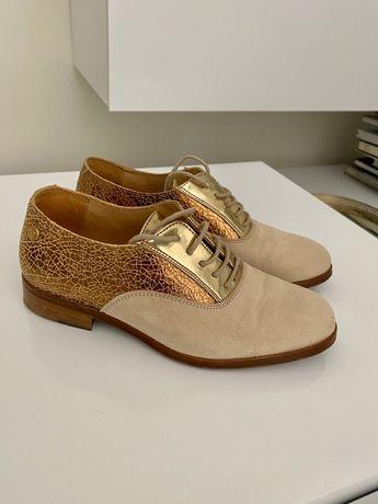 Sapatos oxford dourados Eugénio Campos for Eureka tam 35