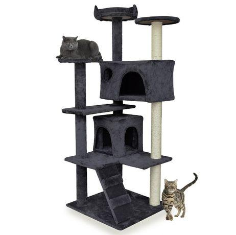 Drapak dla kota z legowiskiem i domkiem 133 cm szary