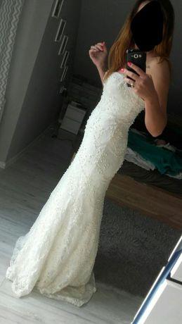 Suknia ślubna s/m syrena koronka koraliki błyszcząca