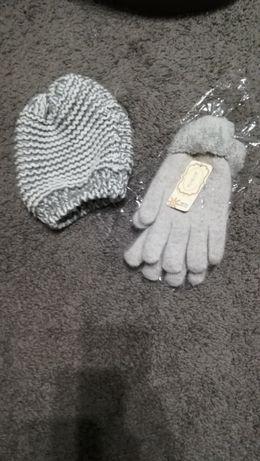 Czapka i rękawiczki w odcieniach szarości