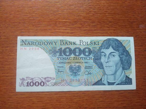 Banknot 1000 złotych PRL (1982) Mikołaj Kopernik