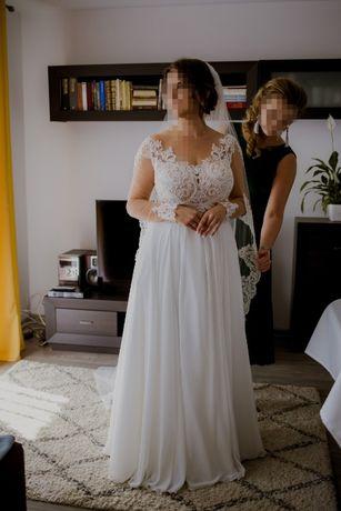 Suknia ślubna Kaledonia Monica 42 muślin śmietankowa koronka